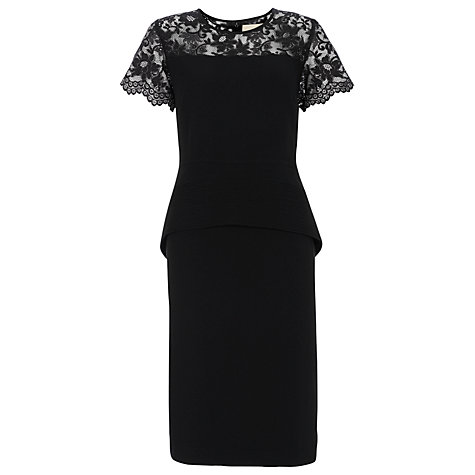 Buy Havren Lace Peplum Dress, Black Online at johnlewis.com