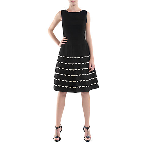 Buy Havren Fit and Flare Scallop Dress, Black Online at johnlewis.com