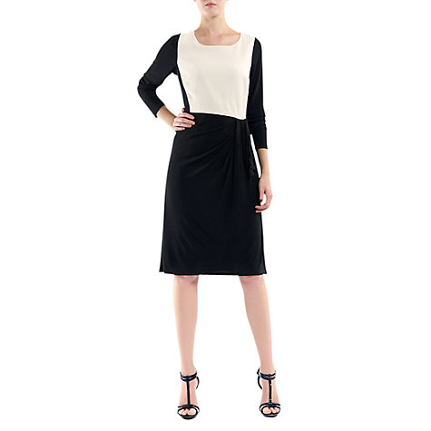 Buy Havren Contrast Pleat Dress, Black/Cream Online at johnlewis.com