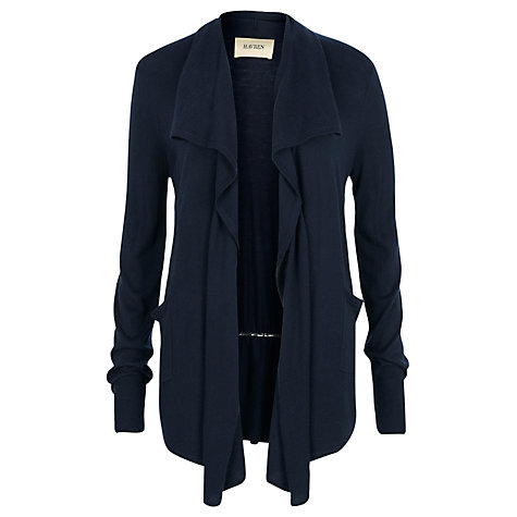 Buy Havren Drape Front Long Sleeve Cardigan, Navy Online at johnlewis.com