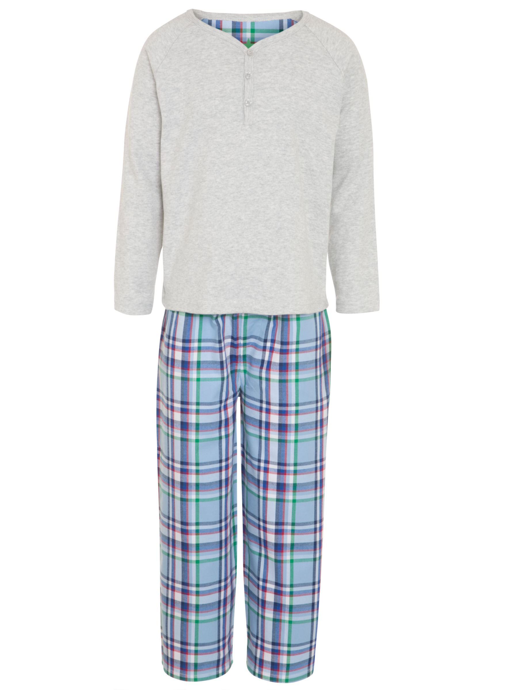 John Lewis Boy Jersey Top & Checked Bottom Pyjamas, Grey/Multi