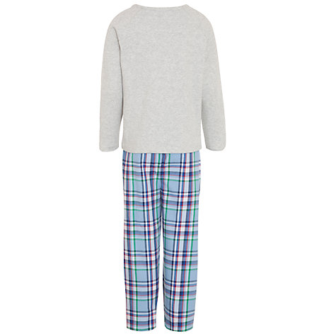 Buy John Lewis Boy Jersey Top & Checked Bottom Pyjamas, Grey/Multi Online at johnlewis.com