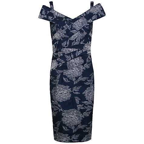Buy Alexon Jacquard Bardot Dress, Blue Multi Online at johnlewis.com