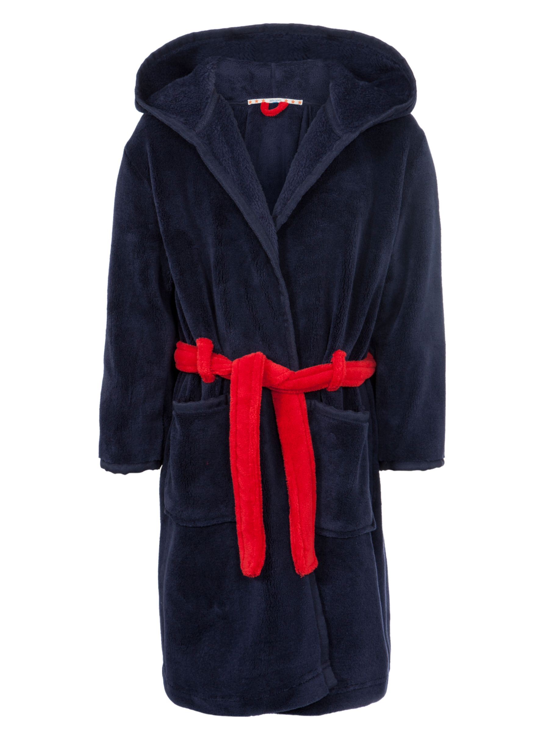 John Lewis Boy Fleece Dressing Gown, Navy Blue