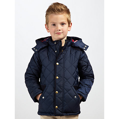Buy John Lewis Boy Quilted Hooded Jacket, Navy Blue Online at johnlewis.com