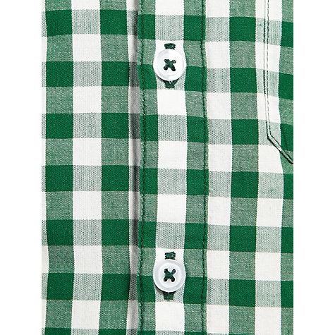 Buy John Lewis Boy Long Sleeved Gingham Shirt, Green/White Online at johnlewis.com