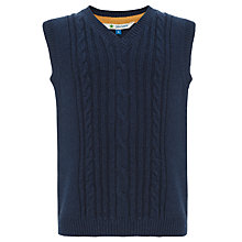 Buy John Lewis Boy Cable Knit V-Neck Tank Top, Navy Blue Online at johnlewis.com