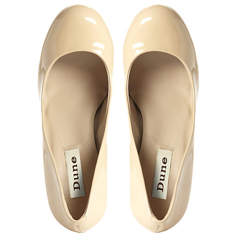 Buy Dune Aleen Round Toe Court Shoes, Blonde Patent Online at johnlewis.com