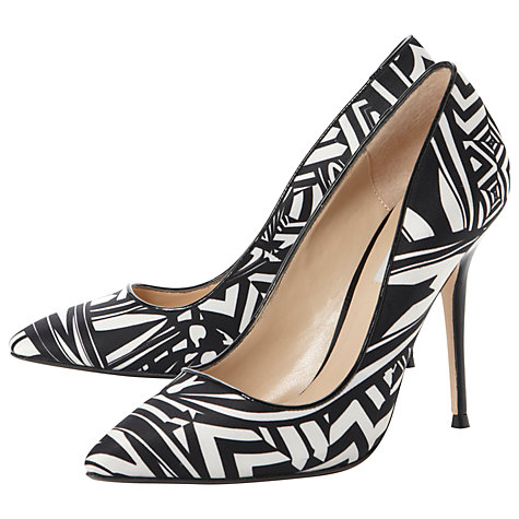 Buy Dune Boogie Satin Point Toe Court Shoes, Black / White Online at johnlewis.com