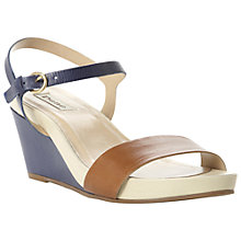 Buy Dune Gadget Leather Wedge Heel Sandals, Navy Online at johnlewis.com
