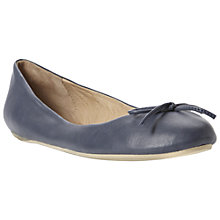 Buy Dune Muswell Leather Bow Trim Ballerina Pumps, Navy Online at johnlewis.com