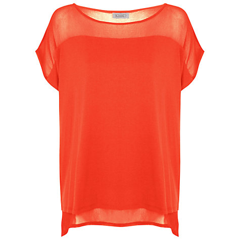 Buy Kaliko Mesh Yoke Jersey Top, Coral Online at johnlewis.com