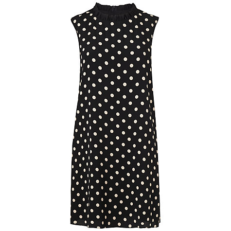 Buy Boutique by Jaeger Polka Dot Frill Neck Dress, Black Online at johnlewis.com