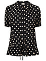 Boutique by Jaeger Polka Dot Gathered Blouse, Black