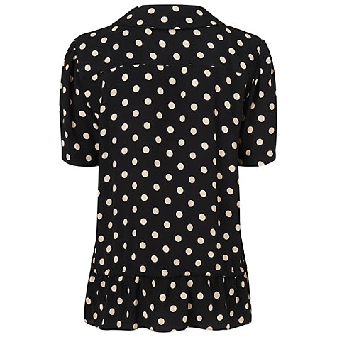 Buy Boutique by Jaeger Polka Dot Gathered Blouse, Black Online at johnlewis.com