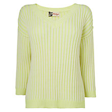 Buy Boutique by Jaeger Fluro Ribbed Jumper, Yellow Online at johnlewis.com