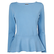 Buy Jaeger London Peplum Jumper, Light Blue Online at johnlewis.com