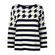 Buy Jaeger London Houndstooth Striped Jumper, Navy Online at johnlewis.com