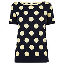 Buy Boutique by Jaeger Lizzie Wool Blend Spotted Top, Navy Online at johnlewis.com