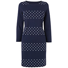 Buy Boutique by Jaeger Paula Jersey Flocked Stripe Dress, Navy Online at johnlewis.com