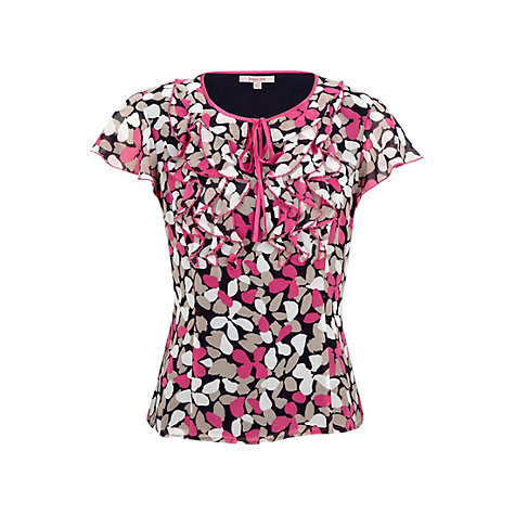Buy Jacques Vert Petal Print Blouse, Navy/Pink Online at johnlewis.com