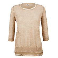 Buy Hoss Intropia Lurex Silk Knitted Jumper, Ivory Online at johnlewis.com