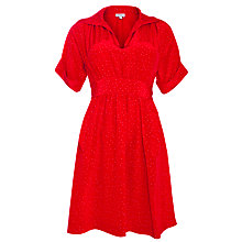 Buy Hoss Intropia Silk Spot Print Shirt Dress, Red Online at johnlewis.com