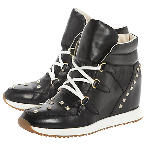 Buy Dune Lyric Stud Detail Leather Wedge Heel Hi-Top Trainers Online at johnlewis.com
