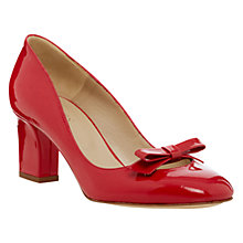 Buy Hobbs Miriam Patent Leather Bow Trim Court Shoes, Poppy Online at johnlewis.com