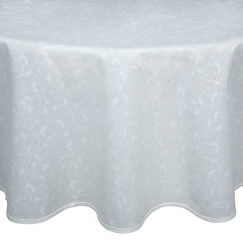Buy John Lewis Trellis Acrylic Wipe Clean Tablecloths, Natural/White, Rounded Online at johnlewis.com