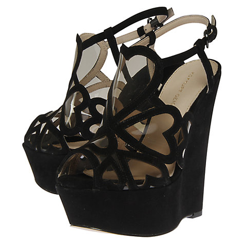 Buy KG by Kurt Geiger Kutie Cut-out Suede Wedged Platform Sandals, Black Online at johnlewis.com
