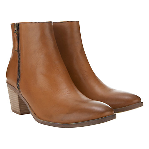 Buy Mint Velvet Side Zip Leather Ankle Boots, Tan Online at johnlewis.com