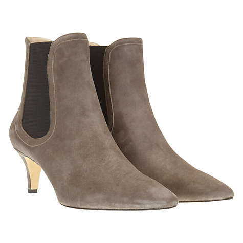 Buy Mint Velvet Elastic Panel Suede Kitten Heel Ankle Boots, Grey Online at johnlewis.com