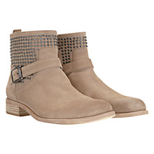 Buy Mint Velvet Stud Buckle Detail Suede Flat Ankle Boots, Stone Online at johnlewis.com