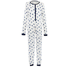 Buy John Lewis Deauville Swallow Print Onesie, Blue/Ivory Online at johnlewis.com