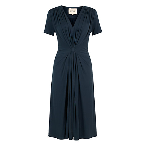 Buy Havren Gathered Front Jersey Dress, Navy Online at johnlewis.com