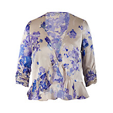Buy Chesca Boarder Print Silk Blouse, Lilac Online at johnlewis.com