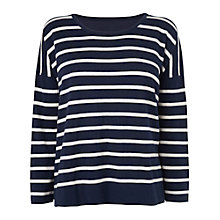 Buy Jaeger Silk Back Stripe Jumper, Navy Online at johnlewis.com