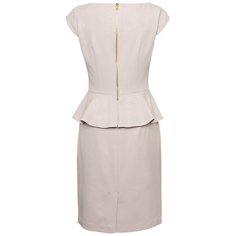 Buy Adrianna Papell Crepe Peplum Dress, Champagne Online at johnlewis.com