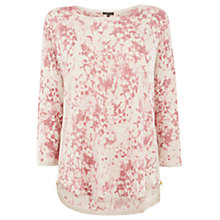 Buy Warehouse Smudge Floral Print Jumper, Light Pink Online at johnlewis.com