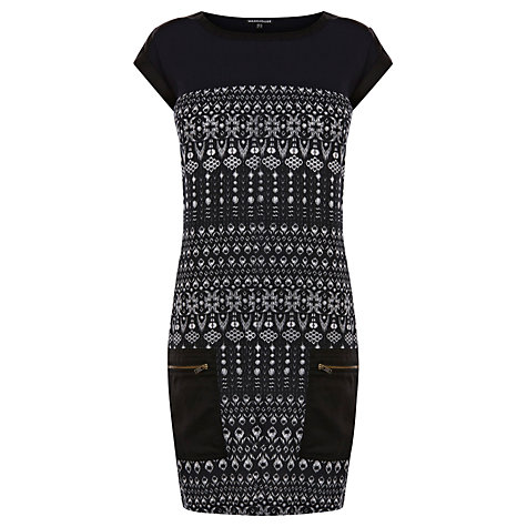 Buy Warehouse Tribal Zip Pocket Dress, Black Online at johnlewis.com