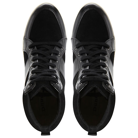 Buy Dune Lapin Suede and Leather Wedge Trainers, Black Online at johnlewis.com