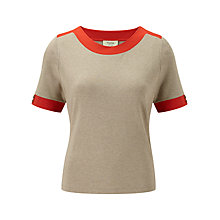 Buy Viyella Petite Contrast Trim Top, Natural/Orange Online at johnlewis.com