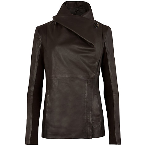 Buy Ted Baker Haszel Leather Jacket, Chocolate Online at johnlewis.com