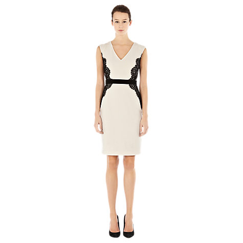 Buy Warehouse Lace Overlay Pencil Dress, Cream Online at johnlewis.com