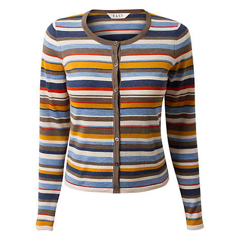 Buy East Amalfi Stripe Cardigan, Chambray Online at johnlewis.com