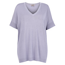 Buy Jigsaw Slouchy V-Neck Jumper, Lilac Online at johnlewis.com