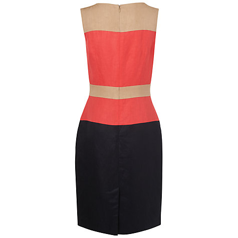 Buy Jaeger Silk Linen Colour Block Dress, Pink Online at johnlewis.com