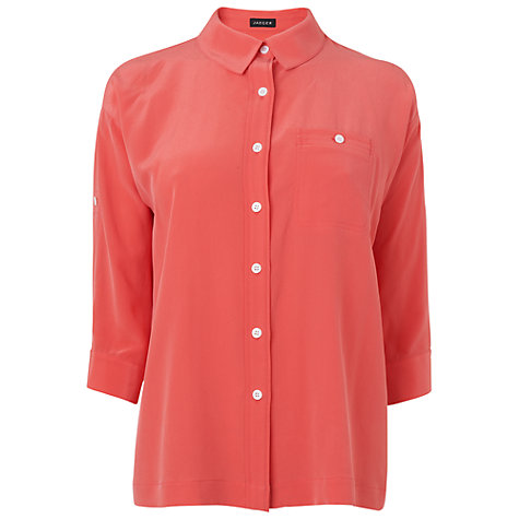 Buy Jaeger Roll Sleeve Washed Silk Blouse, Pale Pink Online at johnlewis.com