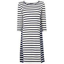 Buy Jaeger Bodycon Striped Jersey Dress, Navy Online at johnlewis.com
